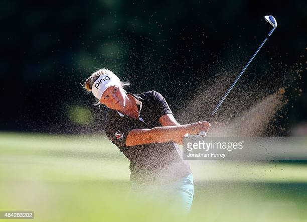 Brooke Henderson of Canada hits on the 18th hole during the final round of the LPGA Cambia Portland Classic at Columbia Edgewater Country Club on...