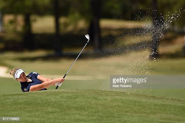 Brooke Henderson of Canada hits out of the bunker during day one of the RACV Ladies Masters at Royal Pines Resort on February 25 2016 on the Gold...