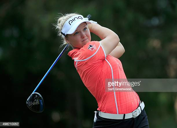 Brooke Henderson of Canada plays a shot on the 4th hole during the third round of the CME Group Tour Championship at Tiburon Golf Club on November 21...