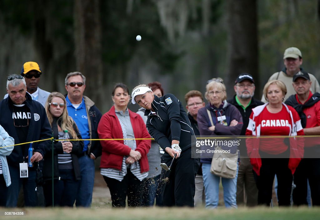 Brooke Henderson of Canada plays a shot on the seventh hole during the final round of the Coates Golf Championship Presented By R+L Carriers at Golden Ocala Golf Club on February 6, 2016 in Ocala, Florida.