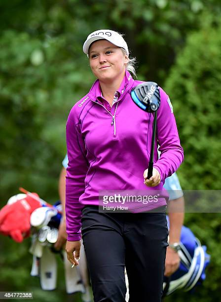 Brooke Henderson of Canada smiles as she walks off the 16th tee during the second round of the Canadian Pacific Women's Open at the Vancouver Golf...
