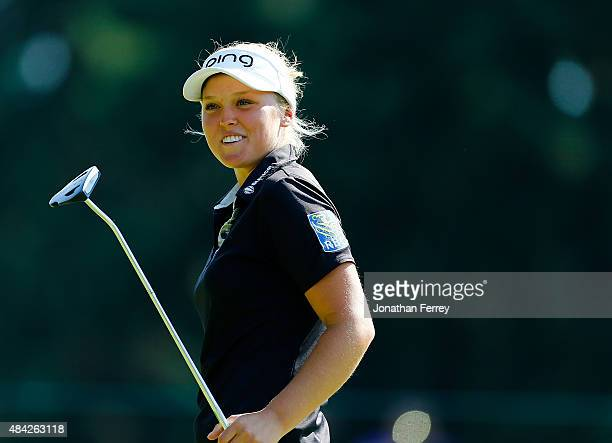 Brooke Henderson of Canada smiles on the 17th green during the final round of the LPGA Cambia Portland Classic at Columbia Edgewater Country Club on...