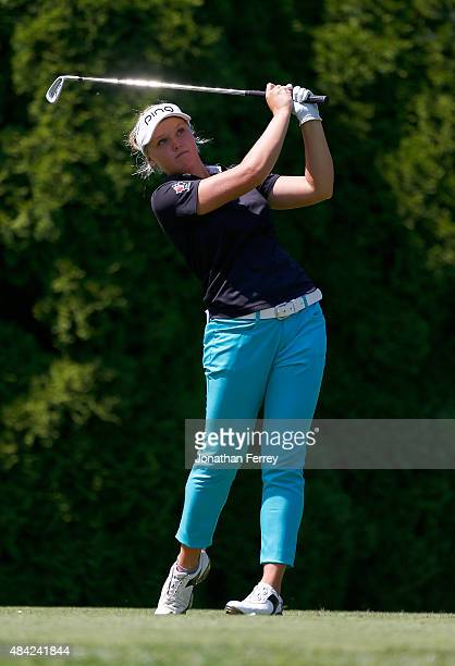 Brooke Henderson of Canada tees off on the 8th hole during the final round of the LPGA Cambia Portland Classic at Columbia Edgewater Country Club on...