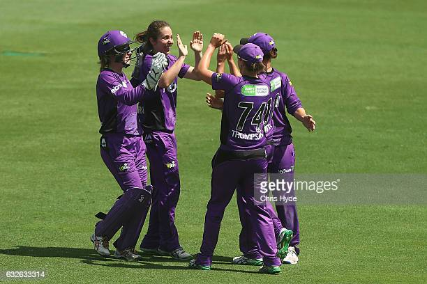 Brooke Hepburn of the Hurricanes celebrates dismissing Ashleigh Gardner of the Sixers during the Women's Big Bash League semi final match between the...