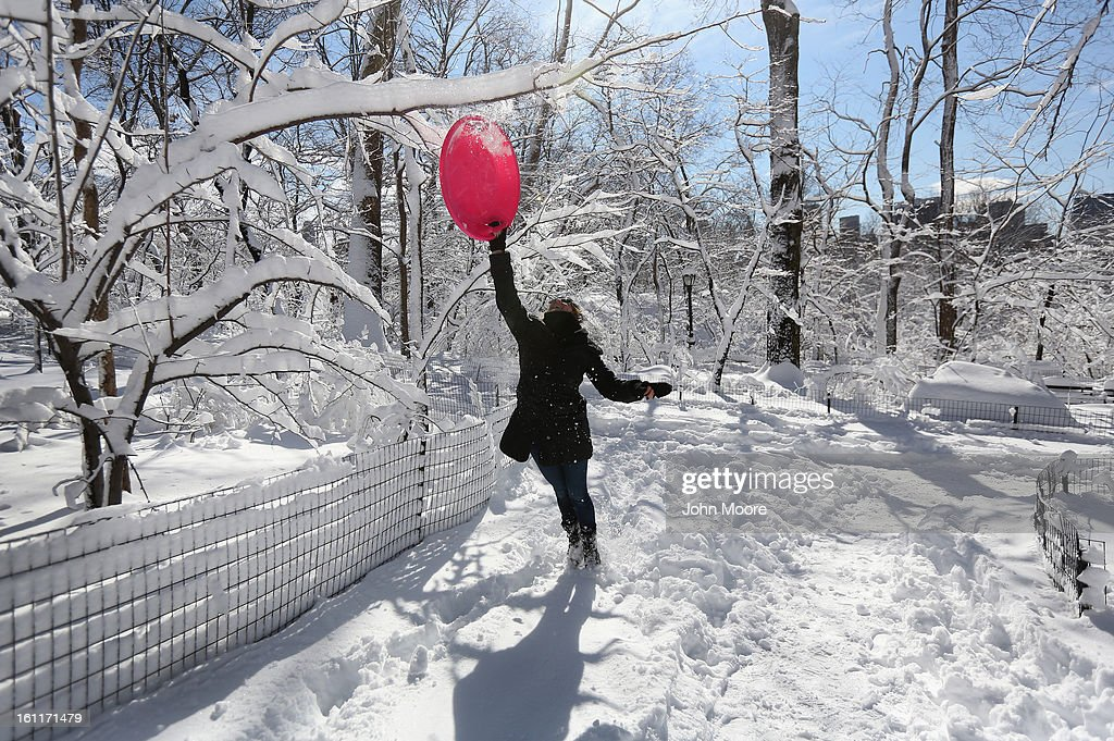 Brooke Linsky knocks a snow-coverd branch in Central Park on February 9, 2013 in New York City. The park received almost a foot of snow, as New York was spared the worst of the massive snow storm that hit the U.S. Northeast.