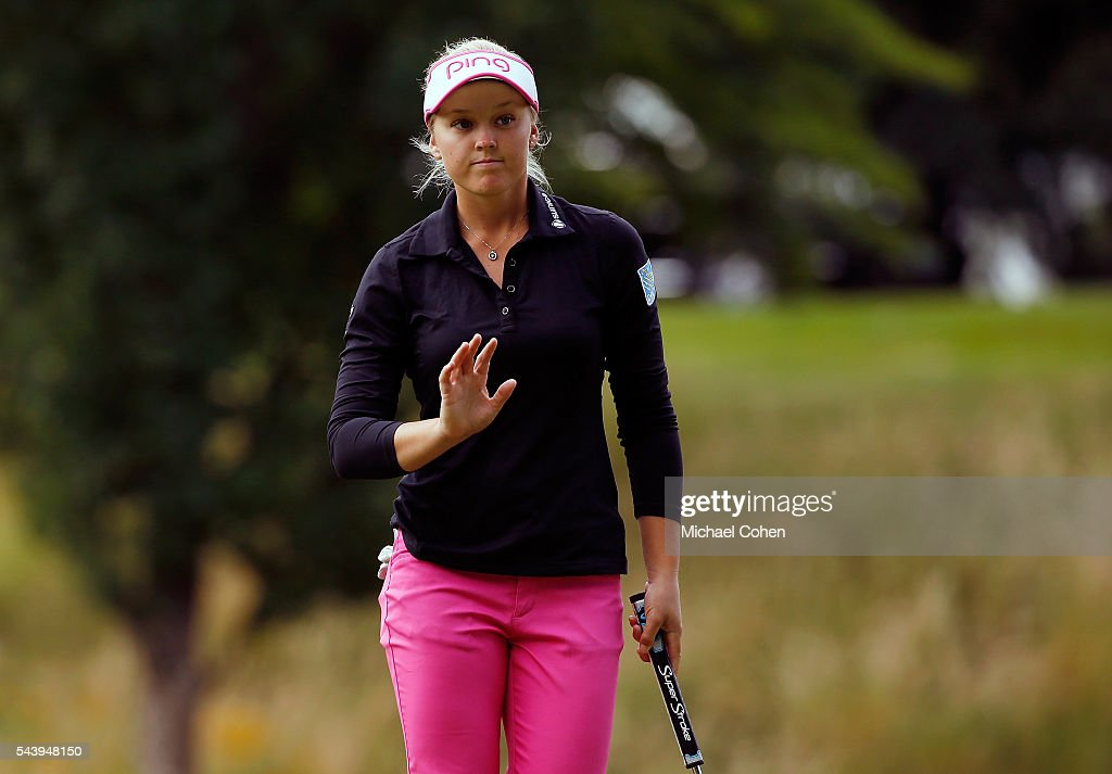 Brooke M. Henderson of Canada acknowledges the gallery during the first round of the Cambia Portland Classic held at Columbia Edgewater Country Club on June 30, 2016 in Portland, Oregon.