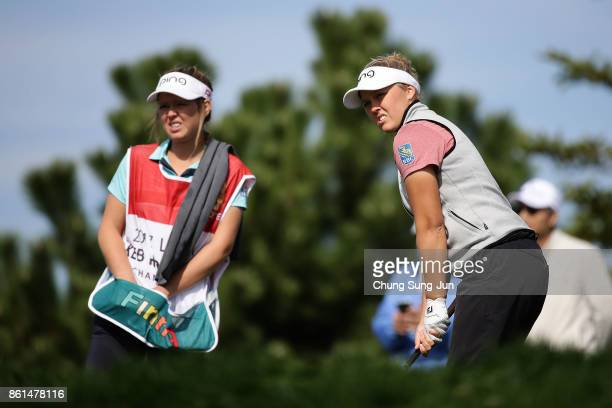Brooke M Henderson of Canada on the 3rd hole during the final round of the LPGA KEB Hana Bank Championship at the Sky 72 Golf Club Ocean Course on...