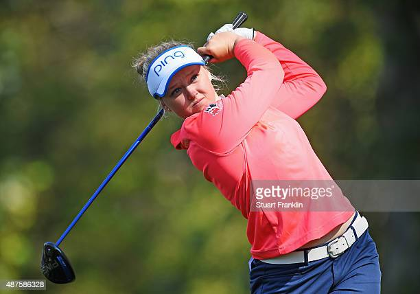 Brooke M Henderson of Canada plays a shot during the first round of the Evian Championship Golf on September 10 2015 in EvianlesBains France