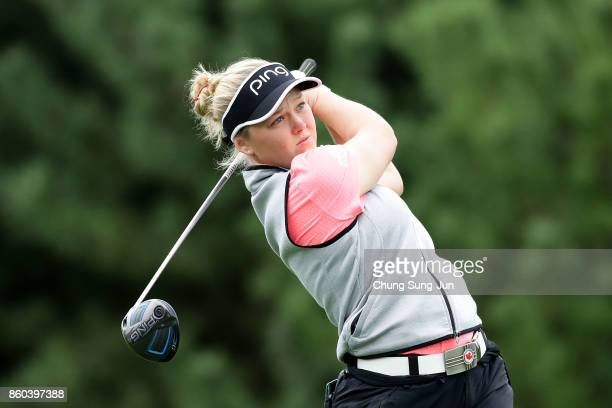 Brooke M Henderson of Canada plays a tee shot on the 2nd hole during the first round of the LPGA KEB Hana Bank Championship at the Sky 72 Golf Club...