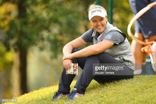 Brooke M Henderson of Canada smiles during the second round of the TOTO Japan Classics 2017 at the Taiheiyo Club Minori Course on November 4 2017 in...