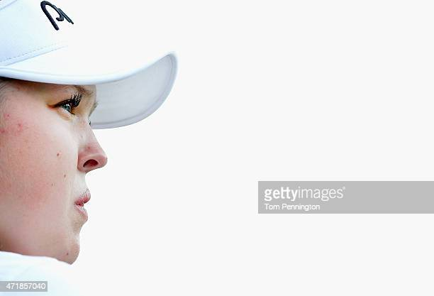 Brooke M Henderson of Canada waits to hit a shot on the seventh green during Round Two of the 2015 Volunteers of America North Texas Shootout...