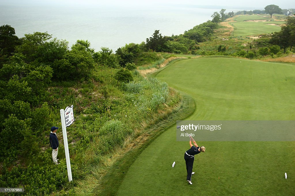 Brooke Mackenzie Henderson of Canada hits off of the eighteenth tee during round 2 of the 2013 U.S. Women's Open at Sebonack Golf Club on June 28, 2013 in Southampton, New York.