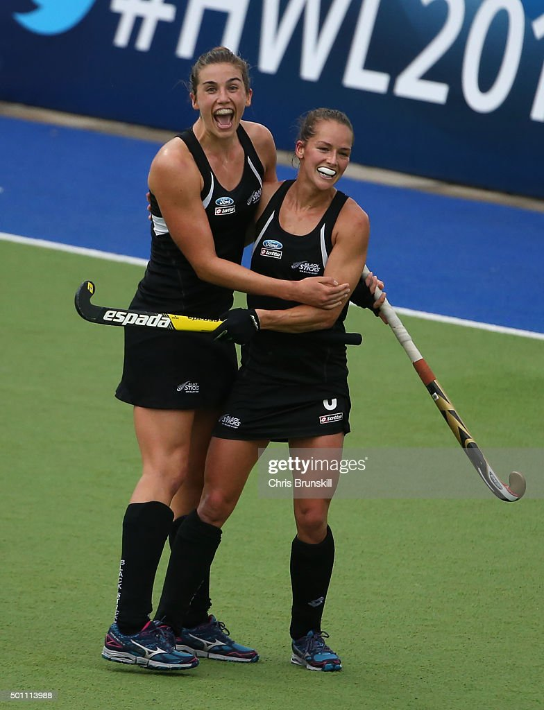 Brooke Neal and <a gi-track='captionPersonalityLinkClicked' href=/galleries/search?phrase=Samantha+Charlton&family=editorial&specificpeople=9604124 ng-click='$event.stopPropagation()'>Samantha Charlton</a> of New Zealand celebrate victory at the final whistle during the semi final match between Germany and New Zealand on day 8 of the Hockey World League Final on December 12, 2015 in Rosario, Argentina.