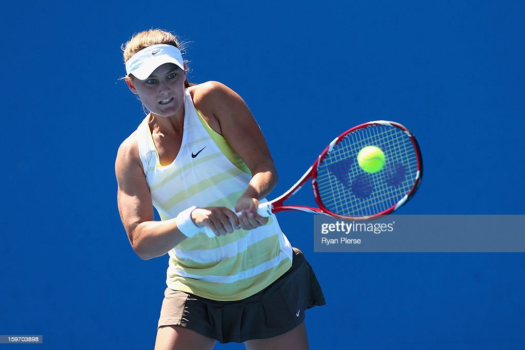 Brooke Rischbieth of Australia plays a backhand in her first round match against Carol Zhao of Canada during the 2013 Australian Open Junior Championships at Melbourne Park on January 19, 2013 in Melbourne, Australia.