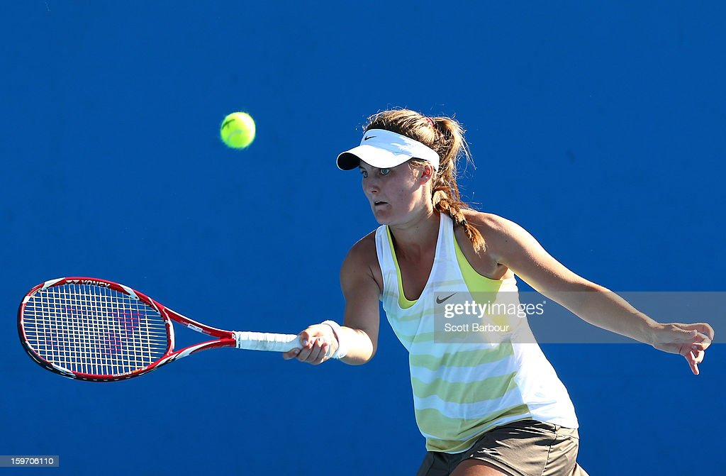 Brooke Rischbieth of Australia plays a forehand in her first round match against Carol Zhao of Canada during the 2013 Australian Open Junior Championships at Melbourne Park on January 19, 2013 in Melbourne, Australia.