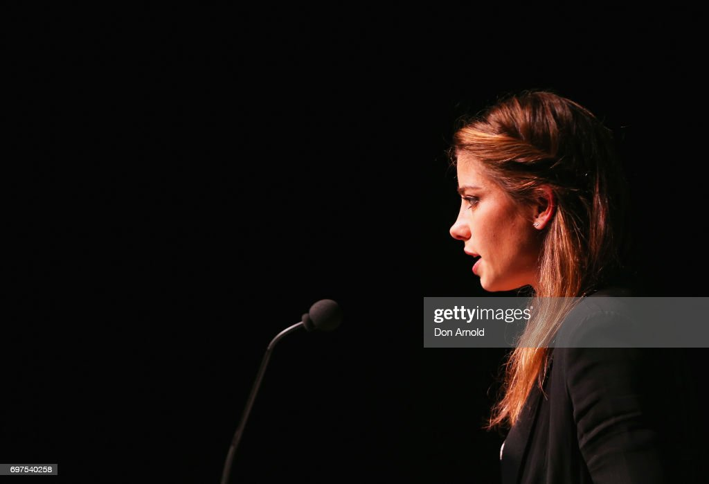 Brooke Satchwell announces nominees during the Helpmann Awards 2017 Nomination Announcement at Roslyn Packer Theatre on June 19, 2017 in Sydney, Australia.