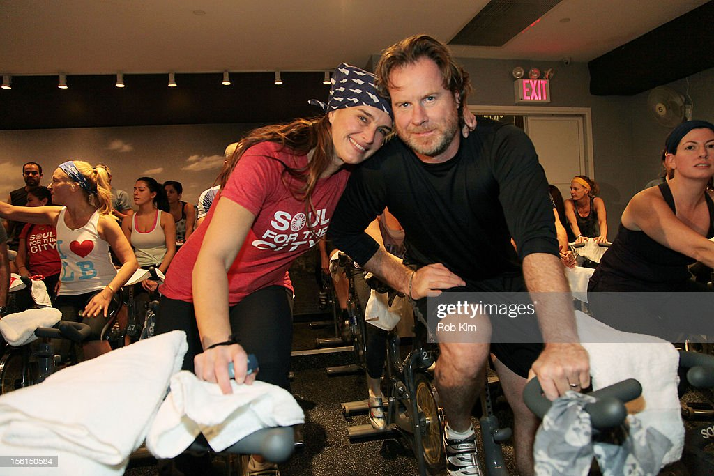 Brooke Shields (L) and Chris Henchy attend SoulCycle's Soul Relief Rides at SoulCycle Tribeca on November 11, 2012 in New York City.