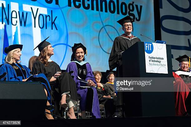 Brooke Shields and Daniel Libeskind look on as Randy Fenoli speaks onstage during the Fashion Institute of Technology Commencement 2015 at the Jacob...