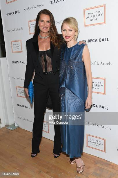 Brooke Shields and Naomi Watts attend the 2017 Tribeca Ball at the New York Academy of Art on April 3 2017 in New York City