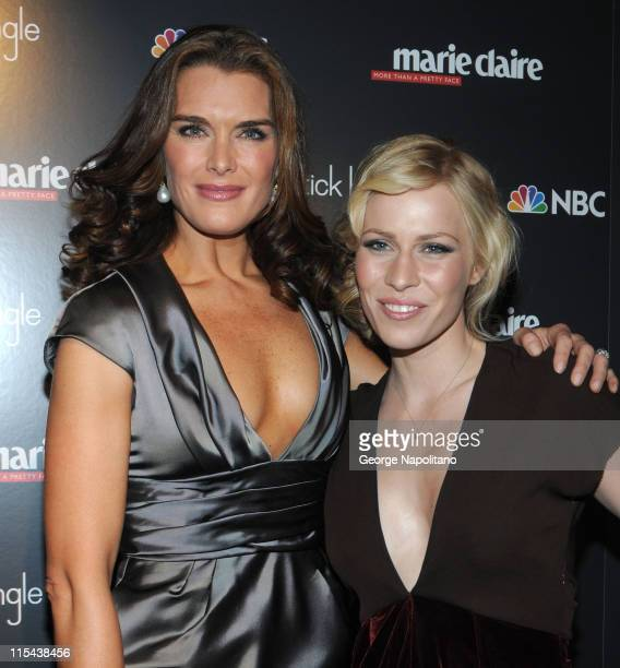 Brooke Shields and Natasha Bedingfield arrive at the New York Premiere Of 'Lipstick Jungle' at the Hearst Tower on January 31 2008 in New York City