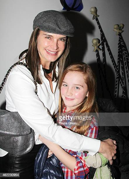 Brooke Shields and Rowan Henchy pose backstage at the new Edgar Allan Poe musical 'Nevermore' at The New World Stages on January 25 2015 in New York...