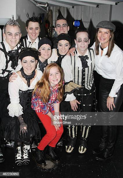 Brooke Shields and Rowan Henchy pose with the cast backstage at the new Edgar Allan Poe musical 'Nevermore' at The New World Stages on January 25...
