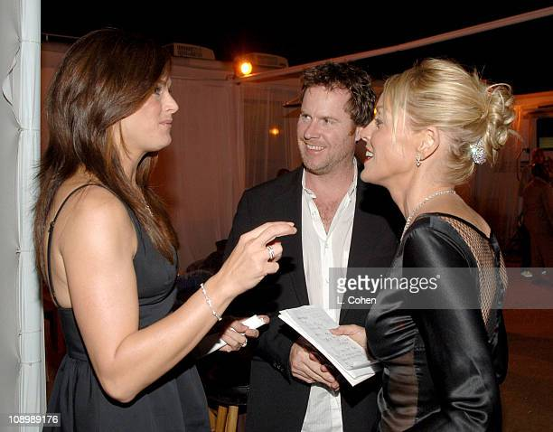 Brooke Shields and Sharon Stone during Macy's Passport Gala 2006 Backstage at Santa Monica Airport's Barker Hanger in Santa Monica California United...