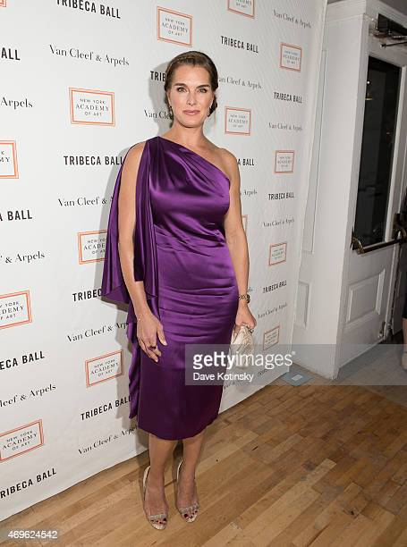 Brooke Shields arrives at the 2015 Tribeca Ball at New York Academy of Art on April 13 2015 in New York City