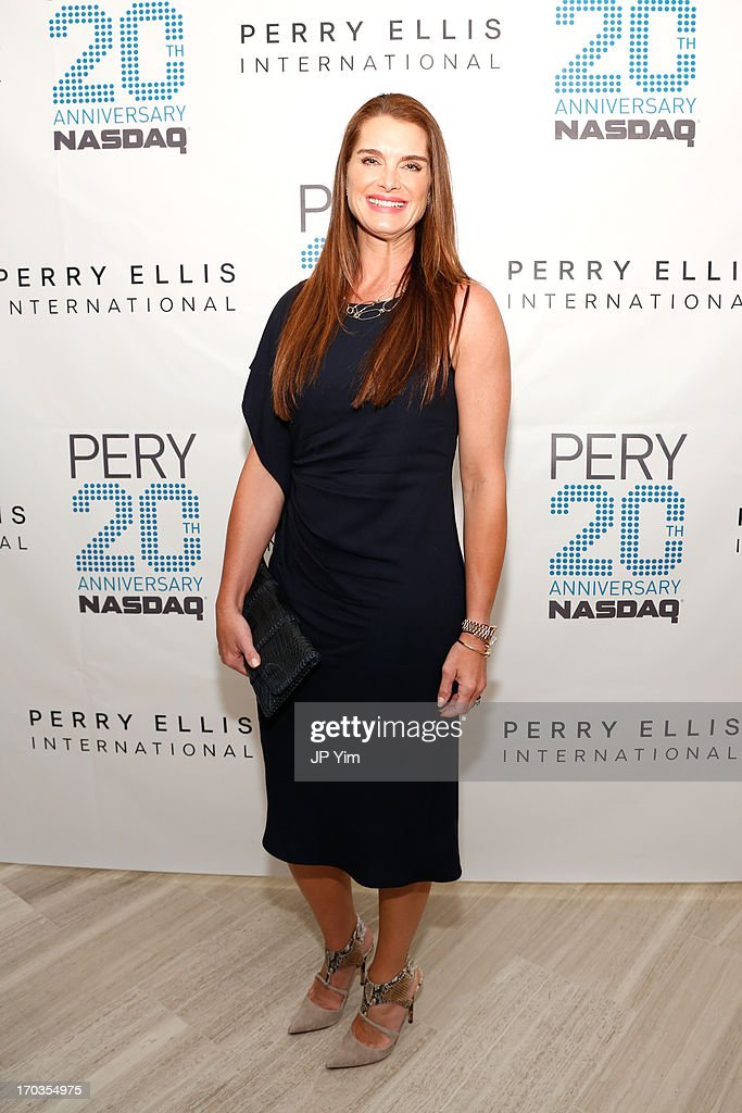 <a gi-track='captionPersonalityLinkClicked' href=/galleries/search?phrase=Brooke+Shields&family=editorial&specificpeople=202197 ng-click='$event.stopPropagation()'>Brooke Shields</a> attends Perry Ellis International celebration of the opening of its new NYC Headquarters at The Hippodrome Building on June 11, 2013 in New York City.