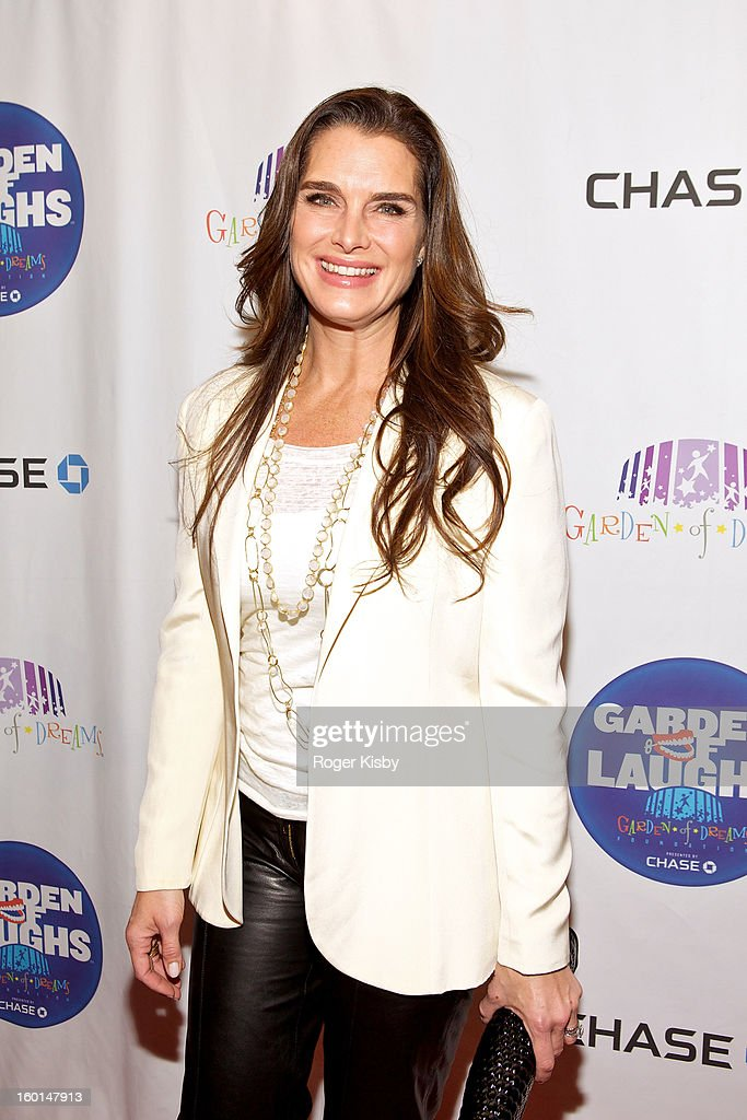 <a gi-track='captionPersonalityLinkClicked' href=/galleries/search?phrase=Brooke+Shields&family=editorial&specificpeople=202197 ng-click='$event.stopPropagation()'>Brooke Shields</a> attends the 'Garden Of Laughs' benefit at Madison Square Garden on January 26, 2013 in New York City.