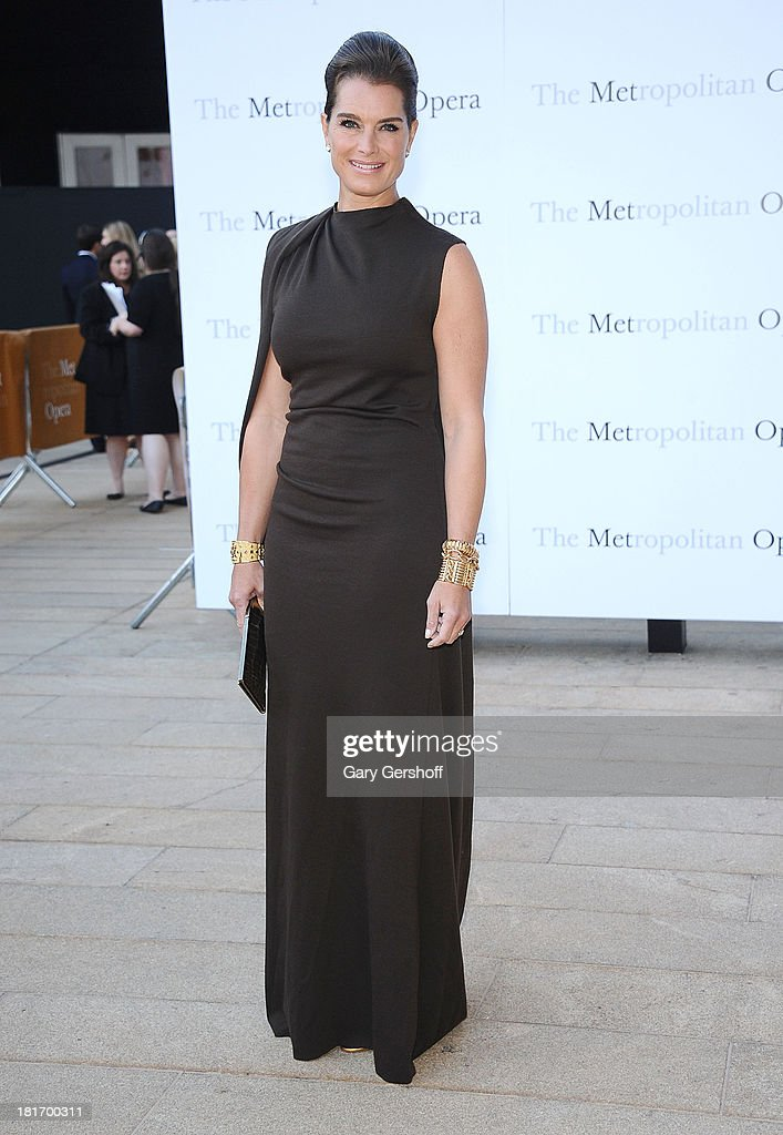 Brooke Shields attends the season opening performance of Tchaikovsky's 'Eugene Onegin' at The Metropolitan Opera House on September 23, 2013 in New York City.