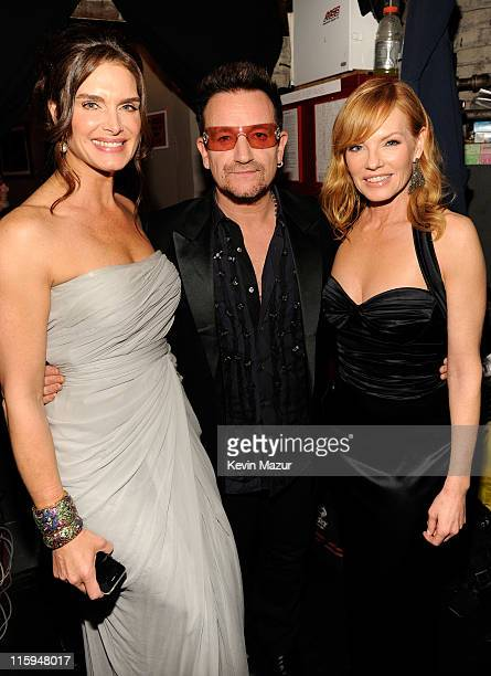 Brooke Shields Bono of U2 and Marg Helgenberger attends the 65th Annual Tony Awards at the Beacon Theatre on June 12 2011 in New York City