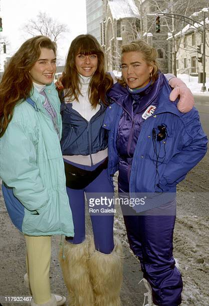 Brooke Shields Carol Alt and Margaux Hemingway during Pepsi Celebrity Ski Invitational in Conjunction with Quebec's Winter Carnival at Mount St Anne...