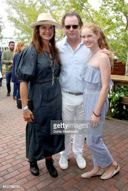 Brooke Shields Chris Henchy and daughter Grier Henchy attend the 2017 Hampton Classic Horse Show Grand Prix competition on September 3 2017 in...