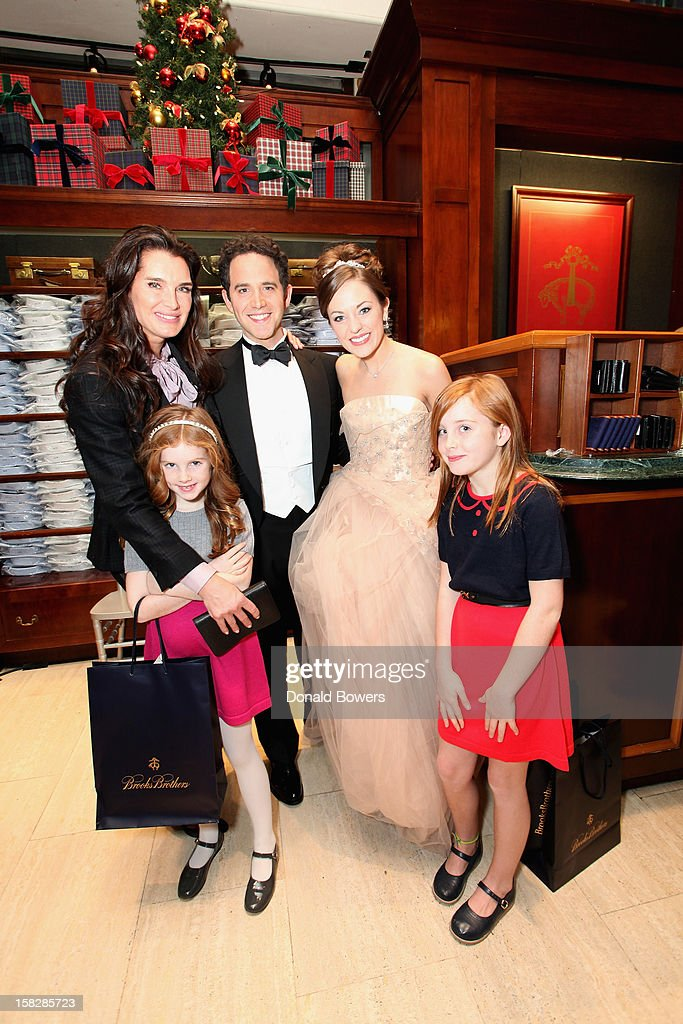 Brooke Shields, her daughters, Santino Fontana and Laura Osnes, Cinderella and Prince from Rodgers and Hammerstein's Cinderella, attend The Brooks Brothers Hosts Seventh Annual Holiday Celebration To Benefit St Jude Children's Research Hospital on December 12, 2012 in New York City.