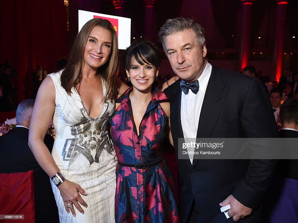 Brooke Shields, Hilaria Baldwin and Alec Baldwin attend the Elton John AIDS Foundation's 13th Annual An Enduring Vision Benefit at Cipriani Wall Street on October 28, 2014 in New York City.