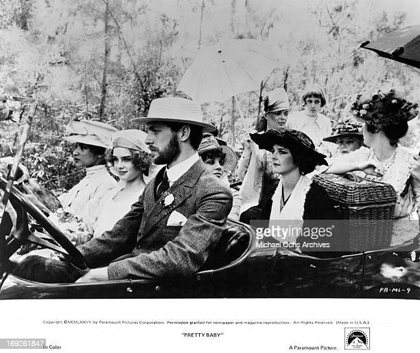Brooke Shields rides next to her new husband Keith Carradine in a scene from the film 'Pretty Baby' 1978