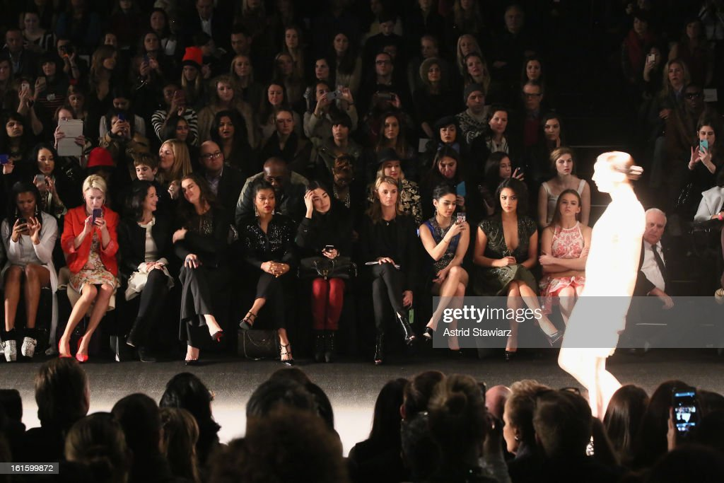 <a gi-track='captionPersonalityLinkClicked' href=/galleries/search?phrase=Brooke+Shields&family=editorial&specificpeople=202197 ng-click='$event.stopPropagation()'>Brooke Shields</a>, Vanessa Hudgens and guests attend the Naeem Khan Fall 2013 fashion show during Mercedes-Benz Fashion Week at The Theatre at Lincoln Center on February 12, 2013 in New York City.
