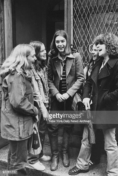 Brooke Shields with her school friends outside New Lincoln School