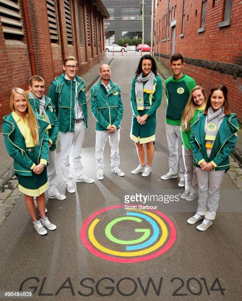 Brooke Stratton Grant Nel Mack Horton Steve Moneghetti Bianca Chatfield Jeff Riseley Sarah Cardwell and Belinda Hocking pose during the 2014...