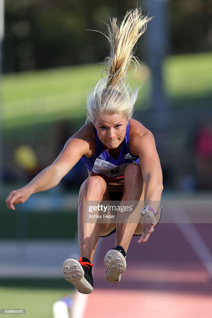 Brooke Stratton of Victoria competes in the long jump during the IPC Athletics Grand Prix on February 6, 2016 in Canberra, Australia.