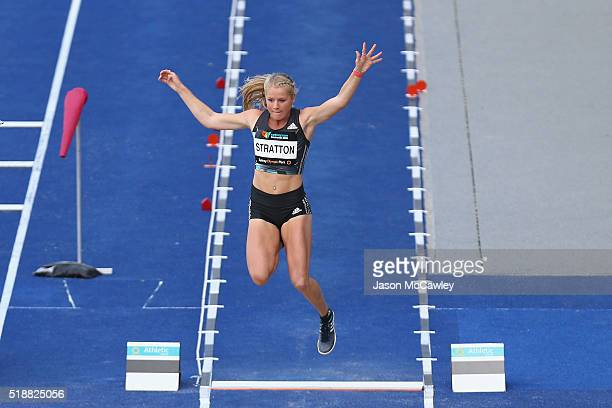 Brooke Stratton of Victoria competes in the womens long jump during the Australian Athletics Championships at Sydney Olympic Park on April 3 2016 in...