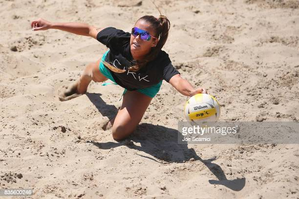 Brooke Sweat dives for the ball during her round 4 match at the AVP Manhattan Beach Open Day 3 on August 19 2017 in Manhattan Beach California