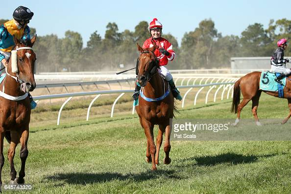 Brooke Sweeney returns to the mounting yard on Sirfontein after winning Homemade Café Beaufort BM58 Handicap at Ararat Racecourse on February 27...