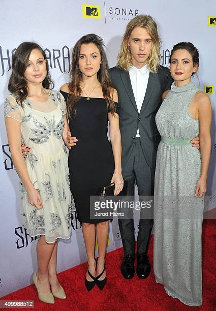 Brooke Williams Poppy Drayton Austin Butler and Ivana Baquero attend the series premiere party for 'The Shannara Chronicles' On MTV at iPic Theaters...
