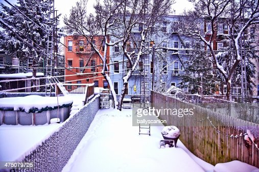 brooklyn backyard with snow stock photo getty images