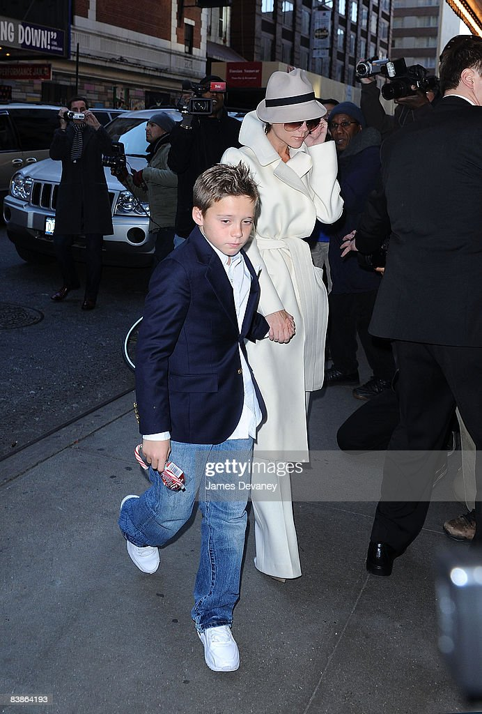 Brooklyn Beckham and Victoria Beckham arrive at the 'Jersey Boys' play on Broadway on November 28, 2008 in New York City.
