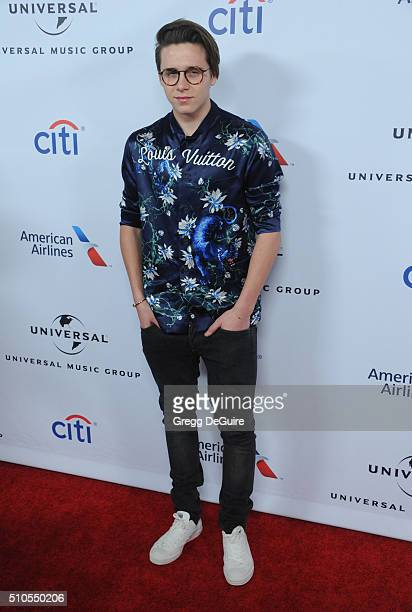 Brooklyn Beckham arrives at Universal Music Group's 2016 GRAMMY After Party at The Theatre At The Ace Hotel on February 15 2016 in Los Angeles...