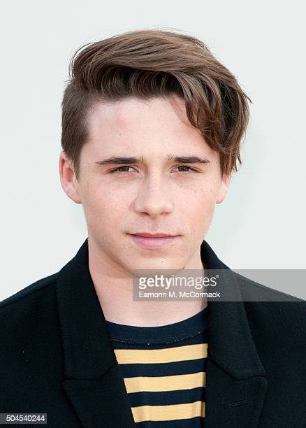 Brooklyn Beckham attends the Burberry show during The London Collections Men AW16 at Kensington Gardens on January 11 2016 in London England