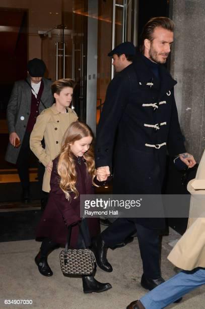 R Brooklyn Beckham Cruz Beckham Harper Beckham and David Beckham are seen walking in Mitown on February 12 2017 in New York City